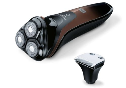 Beurer HR 8000 rotary shaver, 3 spring-loaded dual-ring shaver heads, additional 2-in-1 beard and sideburn styler, With integrated pop-up contour trimmer, LED display, water-resistant, quick-charge function, 60 minutes shaving time, image 2